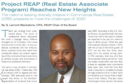 """REAP Board Chair G. Lamont Blackstone in Mann Publications: """"Project REAP Reaches New Heights"""