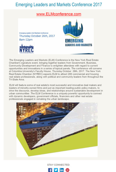 Register Now for the NYREC Emerging Leaders and Markets Conference