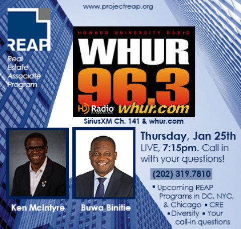 REAP Executive Director Ken McIntyre & REAP Alum Buwa Binitie LIVE on DC's WHUR Radio, Thursday 1/25 at 7:15pm